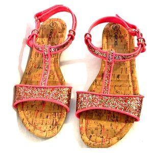 Size 6 pink glitter sandals